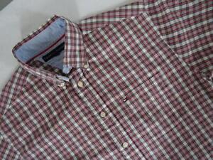 TOMMY-HILFIGER-Camisa-Informal-Algodon-de-cuadros-de-manga-corta-talla-S-191p