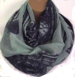 Oversized Circle Loop Infinity Scarf Snood Navy Blue,Silver Grey,Turq Raspberry