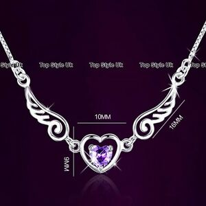 Silver-925-Angel-Wing-Heart-Necklace-Purple-Diamond-Xmas-Gifts-for-Her-Women-TU1