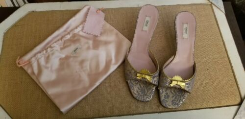 Prada brocade gold blue kitten heels slides mules