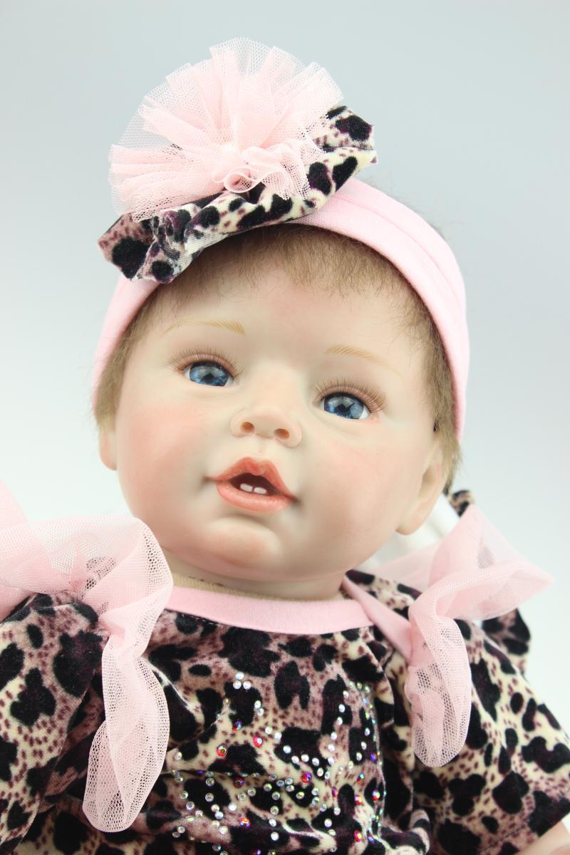 Lindo Vestido Negro 55cm 22in. Muñeca Bebé Reborn Silicona Suave Juguete Niñas