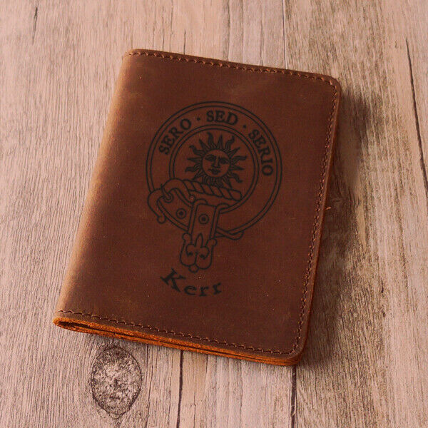 Kerr Clan Leather Passport Cover - Scottish Wallet Genuine- Hand made