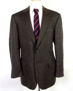 Euc Bill Blass Dark Grayish Brown Cashmere Blend Herringbone Blazer Sz 44 L Clothing, Shoes, Accessories Suits & Suit Separates
