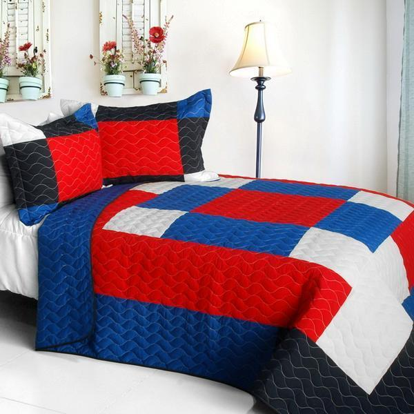 3 PC Crazy Boxes A red white bluee pattern vermicelli Queen Quilt Shams
