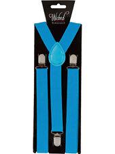 ELASTIC Blue BRACES MENS LADIES 2.5CM WIDE Slim FANCY DRESS SUSPENDERS