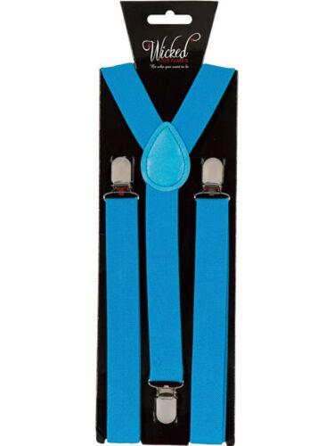 Bleu élastique bretelles homme femme 2,5 cm de large slim fantaisie robe jarretelles