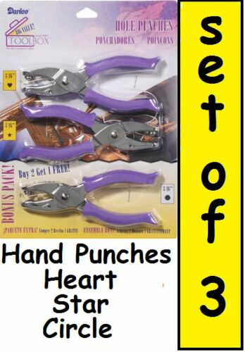PAPER HOLE PUNCH Set Shapes HEART STAR CIRCLE 3pc Punches Hand Held