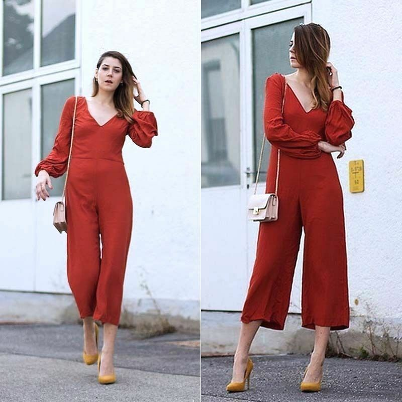ZARA orange  DARK RUSSET LOOSE FIT JUMPSUIT,size XSMALL