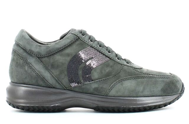 GEOX HAPPY D5462A GREY scarpe donna sneakers pelle casual camoscio strass zeppa