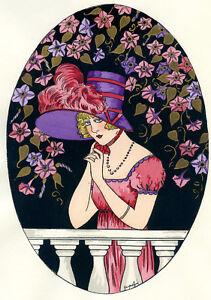 1930s-French-Pochoir-Print-Young-Flapper-Woman-Fashion-w-Flowers-Jacquelyn