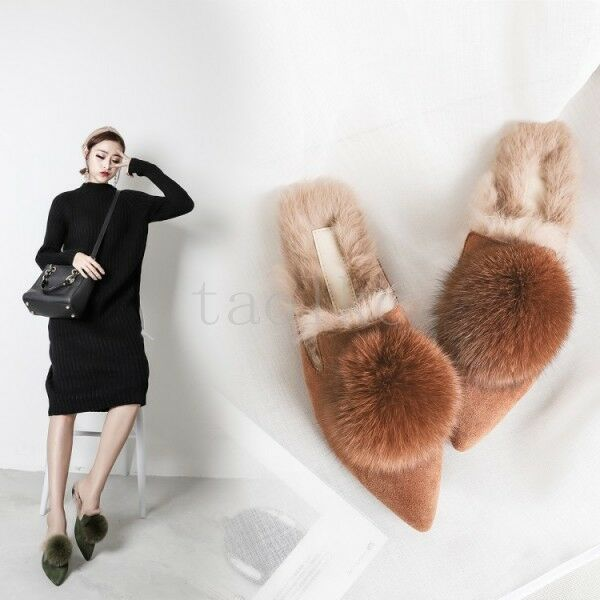 Womens Flat Heel Slippers Mules Slip On Fur Lining Warm Pointed Pointed Warm Toe Casual Shoes 042b80