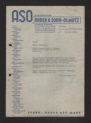 Brief 1941 Aso Warenhäuser Ander & Sohn Einen Effekt In Richtung Klare Sicht Erzeugen FleißIg OlmÜtz