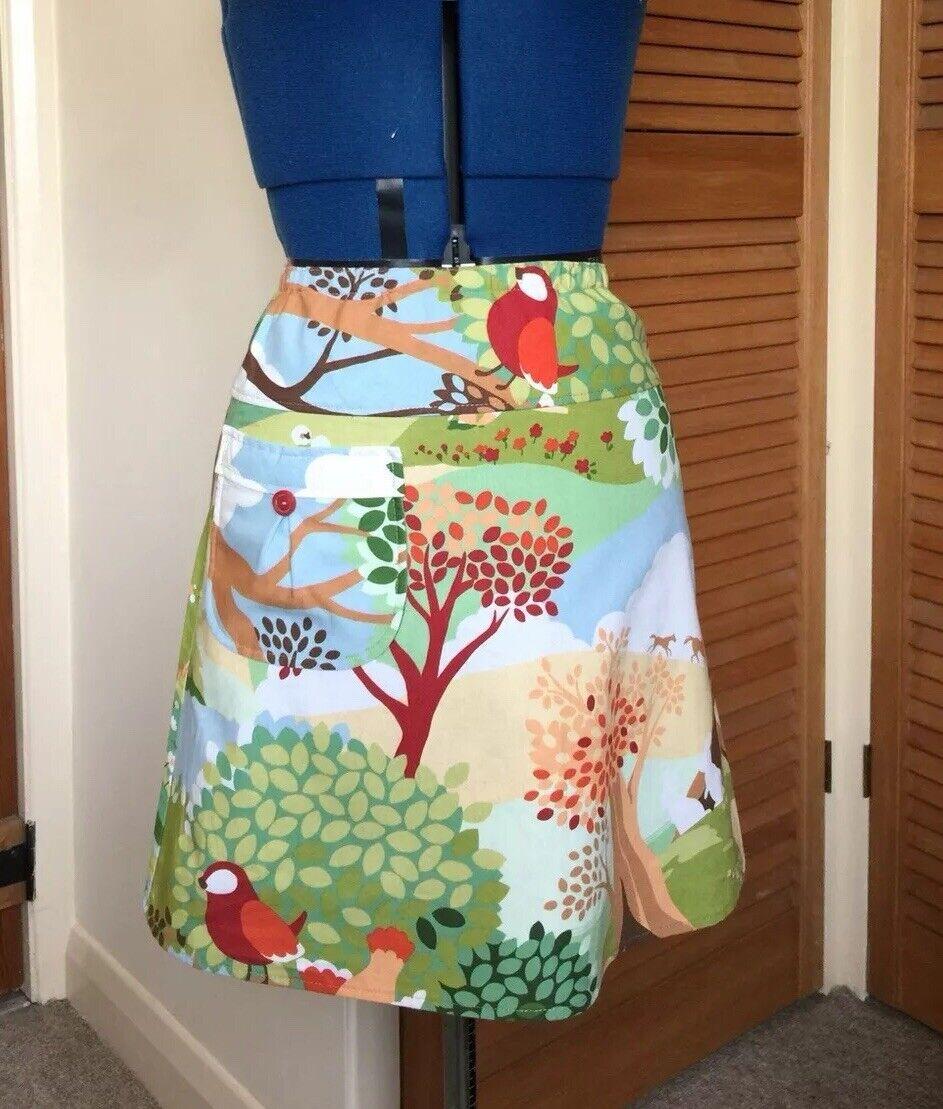 NEW Cute Unique Boho Mini Skirt. Birds Horses Trees.  8  Festival