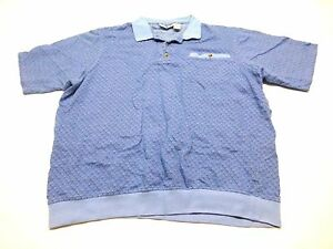 King-Size-Shirt-Mens-Size-2XLT-Blue-Mesh-Polo-Shirt-Good-Condition
