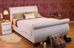 Details About Sweet Dreams Mandarin White Faux Leather Sleigh Bed Super King Size 6ft 180cm