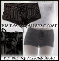 Kate Moss Topshop Black White Striped Shorts Hot Pants Stretch Lace Front UK8 10