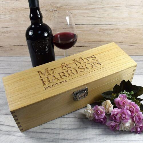 Mr /& Mrs Wedding Gift Personalised Wooden Wine Box