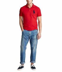 Polo-Ralph-Lauren-mesh-polo-shirt-homme-sz-L-rouge-bleu-marine-Big-Pony-classic-fit