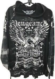 Raw-State-Premium-Vengeance-Pullover-Hoodie-Black-Wings-Graphics-M-Unisex