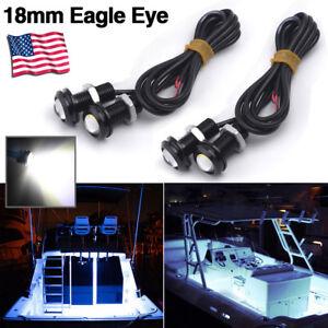4 Pcs White LED Boat Light Waterproof 12v Deck Storage Kayak Bow Trailer Bass