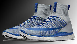 buy popular 18267 c9fb2 Image is loading NIKE-FREE-FLYKNIT-MERCURIAL-WOLF-GREY-GAME-ROYAL-