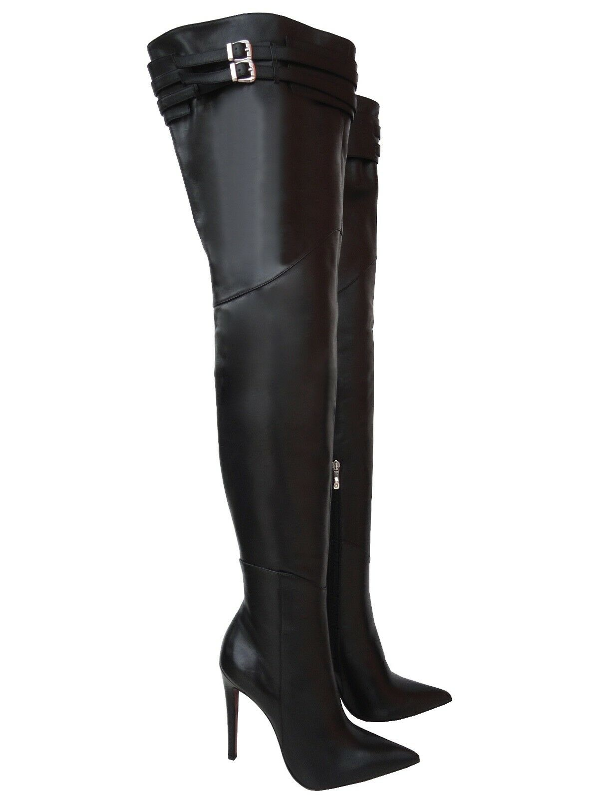 CQ COUTURE CUSTOM SEXY OVERKNEE BOOTS STIEFEL BOOTS LEATHER BELT BLACK BLACK 45