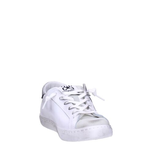 2 star Sneakers Pelle Donna Bianco /argento 2816