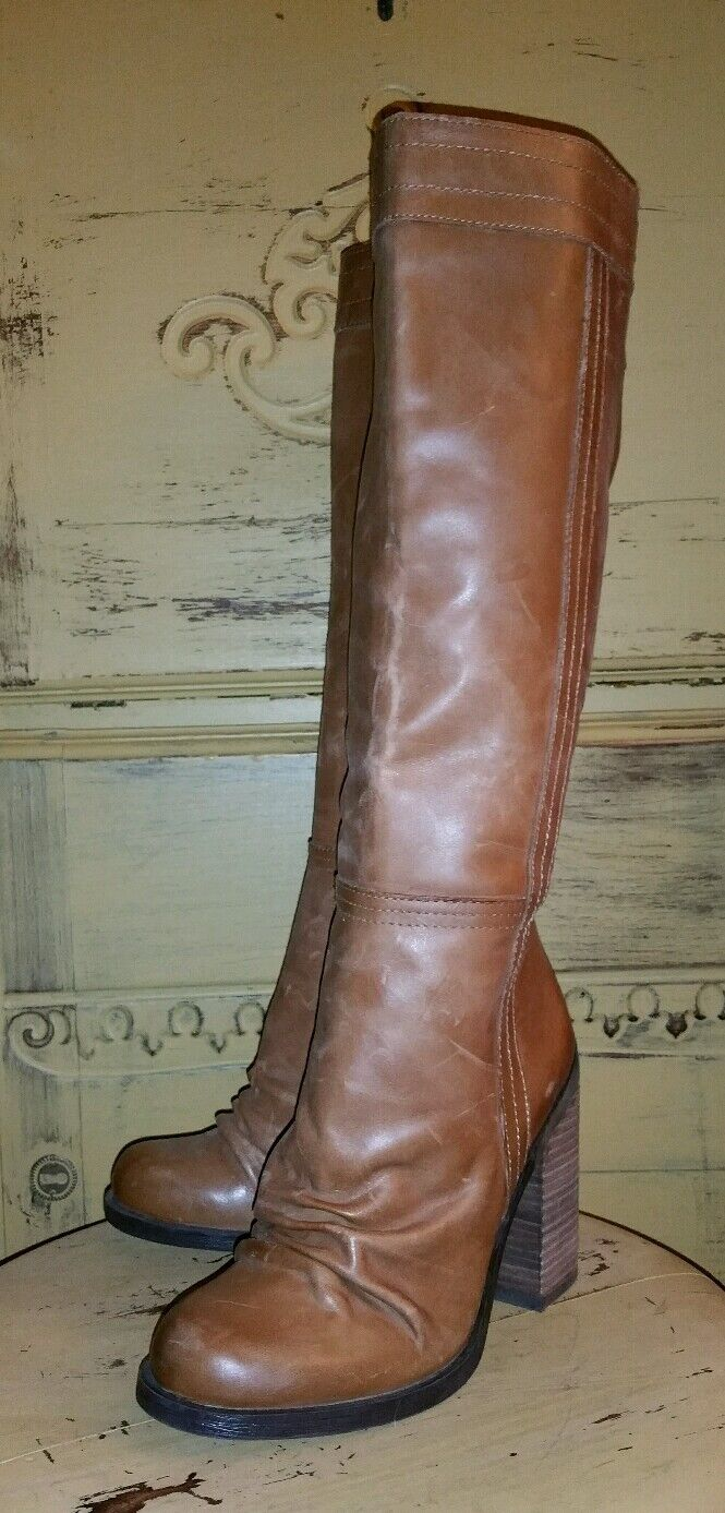 NEW JESSICA SIMPSON TUSCANY LEATHER TALL ROUCHED ROUCHED ROUCHED RIDING BOOTS BOHO 5.5 M GYPSY acfb2d
