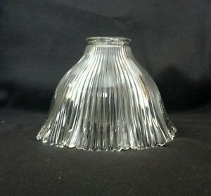 sm vintage holophane style steampunk ribbed glass lamp light shade