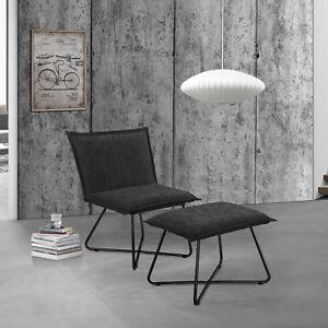 sessel mit fu hocker schwarz wildlederimitat hocker fernsehsessel ebay. Black Bedroom Furniture Sets. Home Design Ideas