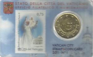 VATICAAN-2011-nummer-1-50-cent-coincard-met-postzegel-BU-kwaliteit