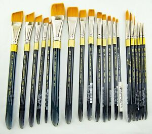 Loew Cornell LaCorneille Golden Taklon Brushes Made in Japan Version Large Lot