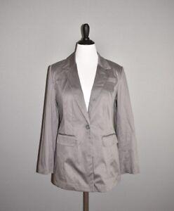 LANE-BRYANT-NEW-80-Gray-Sateen-Stretch-Cotton-Structured-Blazer-Jacket-Size-12