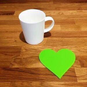 """En Forme De Coeur Vert Citron Brillant Acrylique Coasters, Ensembles De 4, 6 Ou 8, 11 Cm 4""""-afficher Le Titre D'origine Conduire Un Commerce Rugissant"""