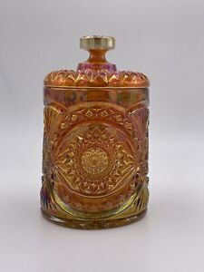 """Imperial Glass Hobstar Marigold Carnival Glass Biscuit Cookie Jar 8"""" Tall"""