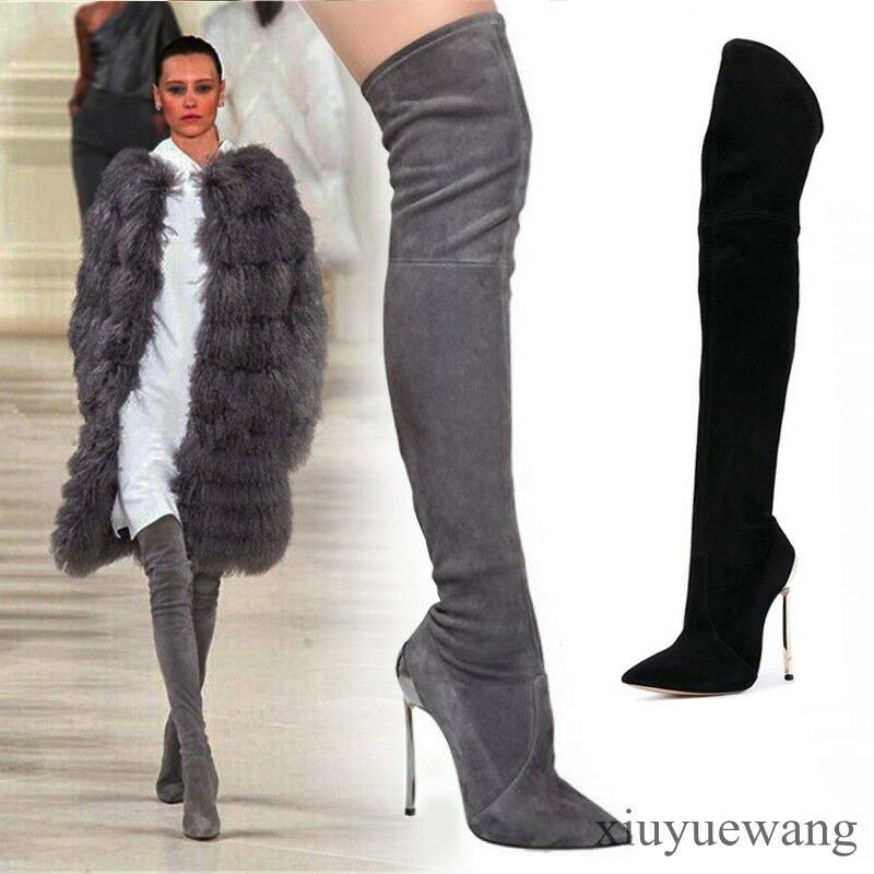New Donna High Heel Stiletto Suede Leather Sexy Over Knee High Thigh Boots Shoes