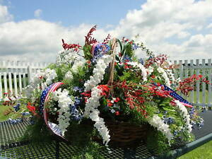 Patriotic Grave Cemetery Tombstone Saddle Basket Red White Blue Ribbon Wisteria