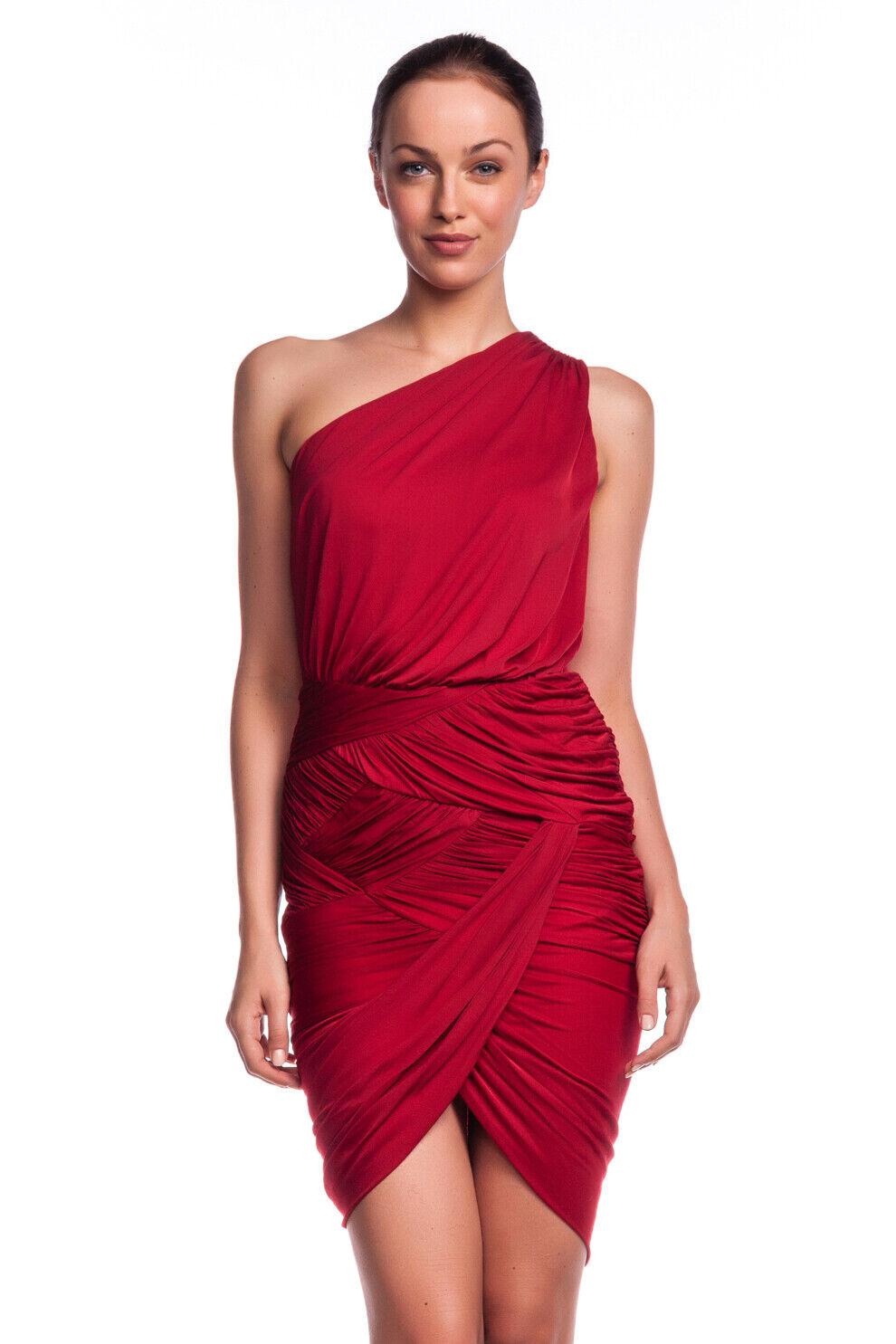 Patrimonio de  un hombro Vestido Halston pimentón Jersey Fruncido Rojo Nuevo  barato y de alta calidad
