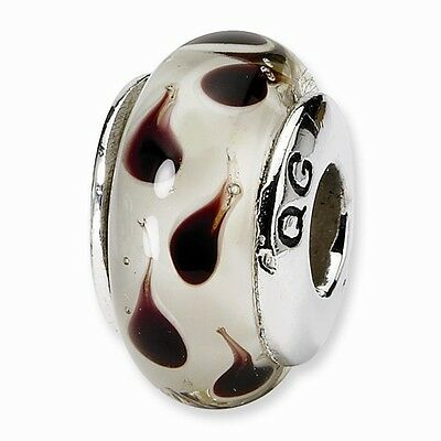 Bead Charm White Sterling Silver Glass 13.64 mm 7.27 Reflections Yellow Hand-Blown
