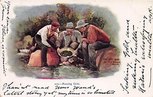 Panning-Gold-Very-Early-Embossed-Postcard-Unused-Published-in-1898