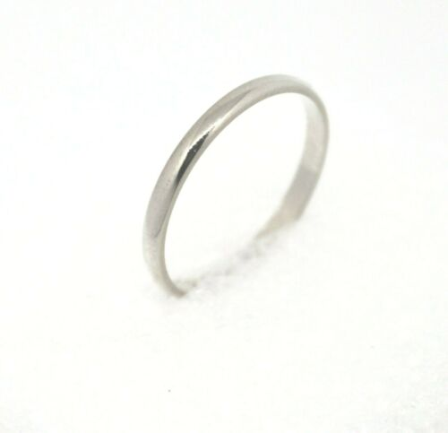 2.1 mm Wedding Band Ring REAL Solid 14 kw White GOLD 1.8 g Size 7