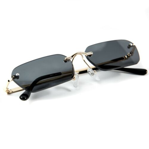 Mens Black And Gold Square Hip Hop Shades Fashion Retro Rimless Sunglasses
