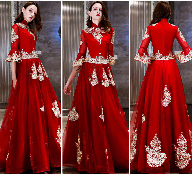 Noble Evening Formal Party Ball Gown Prom Bridesmaid Embroidery Long Dress YSG82