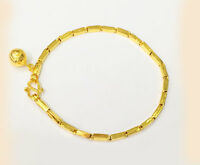 """22K Solid Gold baht bracelet handmade from Thailand 7.5""""Ship from USA #B6"""