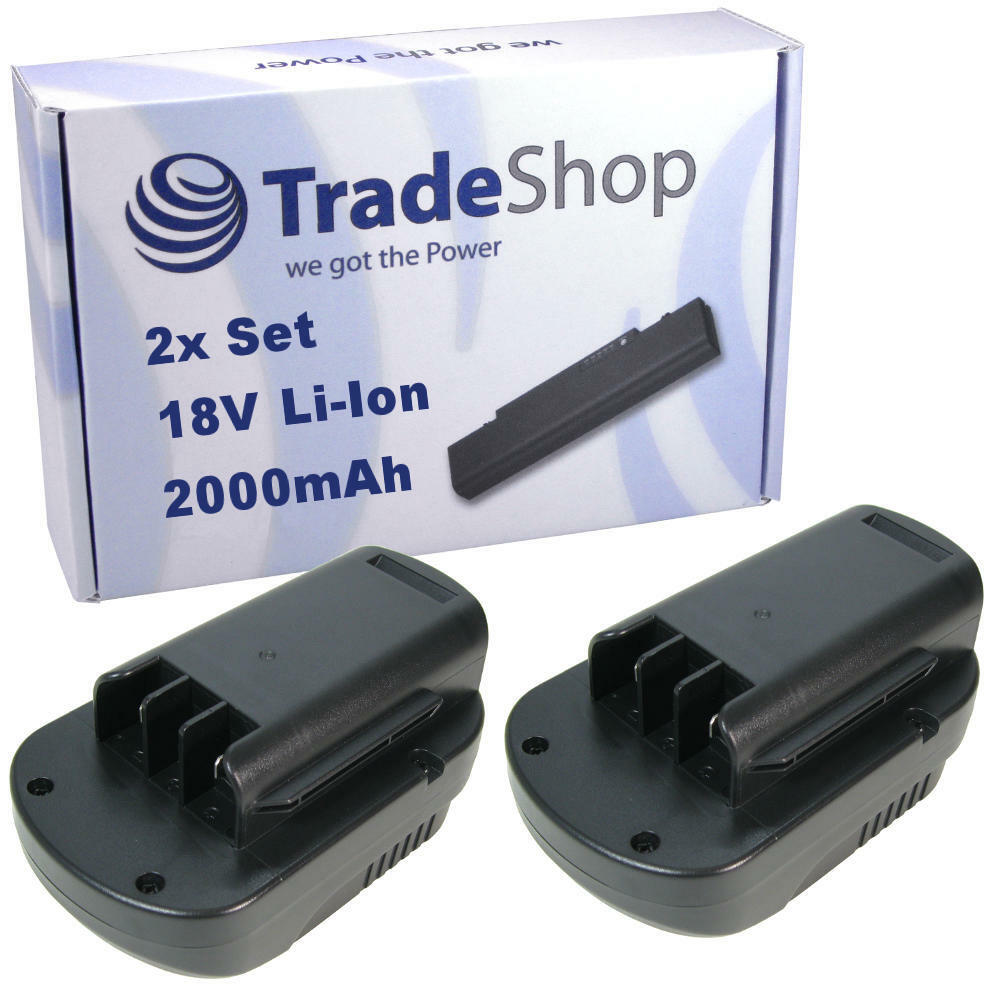 2x Trade-Shop AKKU 18V 2000mAh Li-Ion für Güde GRT260-18 GHS520-18 GLB200-18