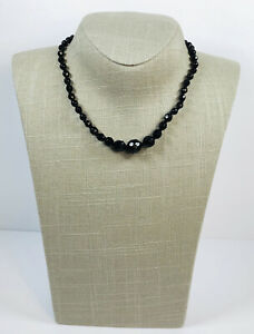 Vintage Necklace French Jet Glass Faceted Beads Choker Made In Western Germany