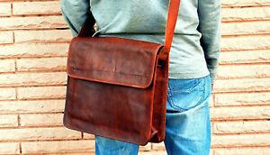 Men-039-s-Leather-Messenger-Bag-Shoulder-Business-Briefcase-Laptop-Bags-Handmade