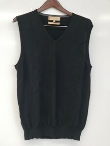 M-amp-S-Collezione-100-Merino-Wool-Sweater-Vest-Men-039-s-M-Black-Italy-Inspired-FLAW