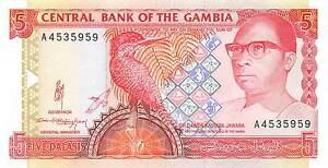 Paper Money: World Latest Collection Of Gambia 5 Dalasis Nd 1991 P 12a Series A Uncirculated Banknote Wns16j Making Things Convenient For Customers