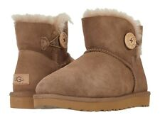 Women's Shoes UGG MINI BAILEY BUTTON II Suede & Sheepskin Boots 1016422 CARIBOU